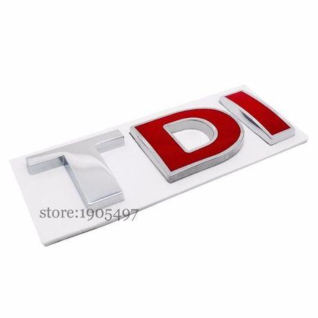 Надпис TDI чисто нови двете чèрвени букви