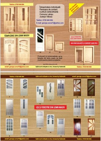 Uși/ferestre din lemn masiv cu geam termopan/clasic