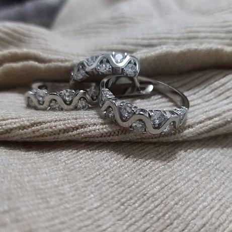 Серебро,  набор серьги и кольцо
