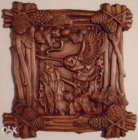 Tablou sculptura lemn - Basorelief - Bufnita la vanatoare