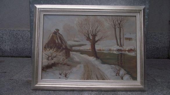 СТАРА картина пейзаж - Зима - Масло -