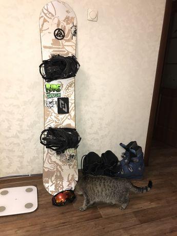 Сноуборд К2, ботинки, очки, коньки