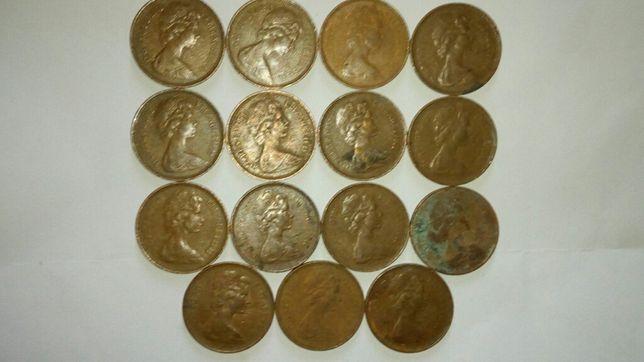 2 new pence din 1971 și 1 new penny din 1971