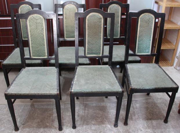 Set 6 Scaune Vintage; Scaun lemn masiv; Scaun cu sezut 35x39 cm