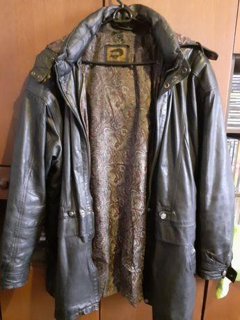 Мужская,  длинная, кожаная куртка с капюшоном, 56 размер.
