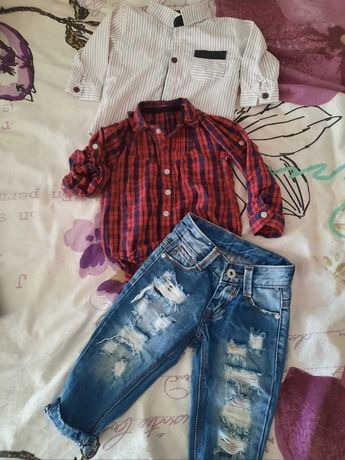 Лот дънки и боди риза hm+ подарък риза