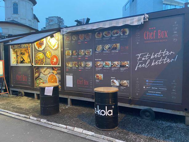 Bucatarie mobila completa tip food truck amenajata in containere