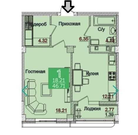 Срочно! Продается 1 ком. квартира в ЖК Олимпийский.