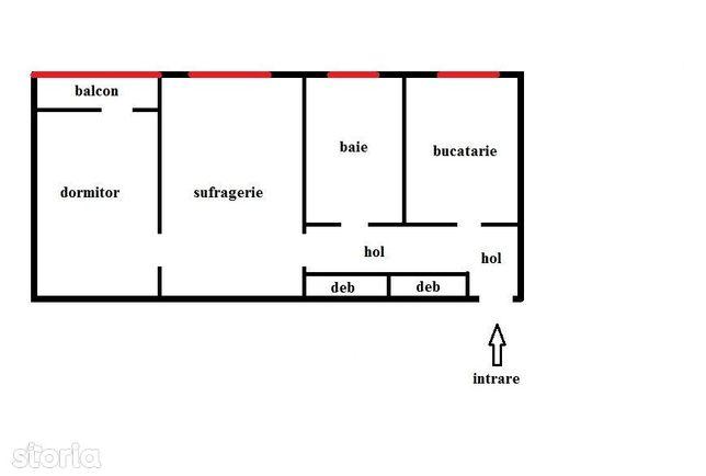Apartament cu doua camere 42mp