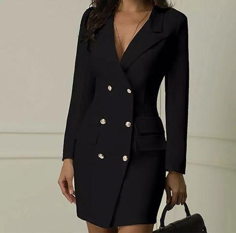 Черна рокля тип сако