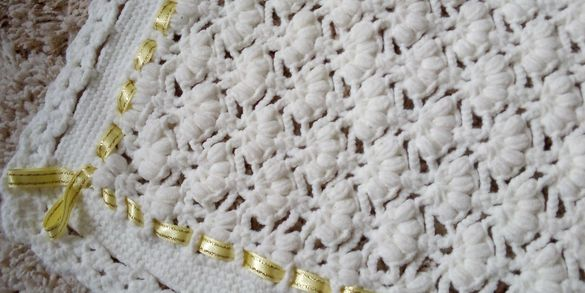 Ръчно плетено детско одеало 1.10/1.10 м.