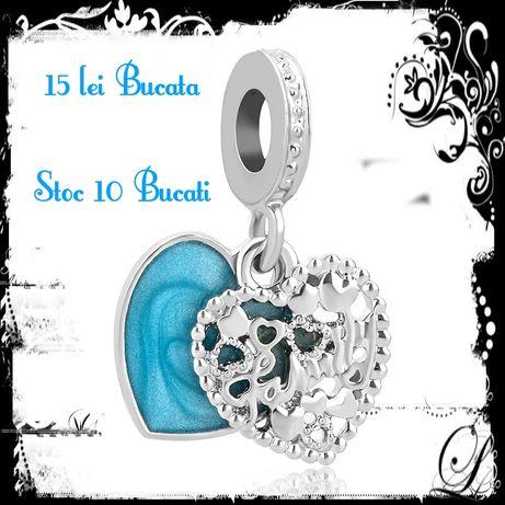 Charm pentru brățară tip Pandora inimă albastră 2g, 13mm