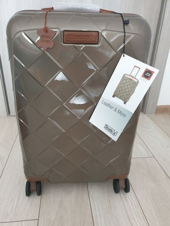Troler cabina Stratic leather and more, piele naturală, policarbonat