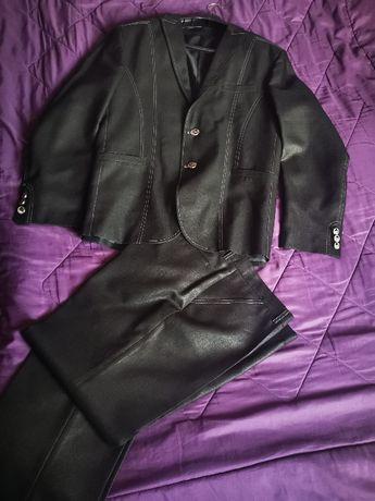 """Елегантен мъжки костюм """"Алекс"""" черно със сребрист оттенък"""