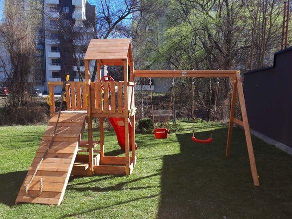 Разпродажба! Fungoo FLOPPI дървена детска площадка с пързалка и люлки