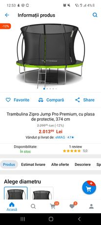 Trambulina Zipro Jump Pro Premium, cu plasa de protectie, 374 cm