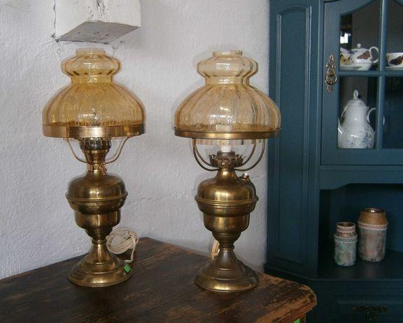 Veioze vechi cu picior metalic si abajur din sticla (Lampa/Lampadar)