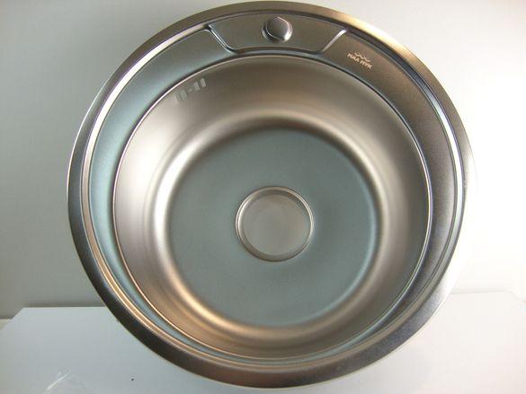 Нова Кухненска кръгла мивка за вграждане Ф49 18см кухня хром силистра
