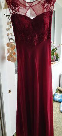 Официална дълга рокля с дантела Бордо размер S