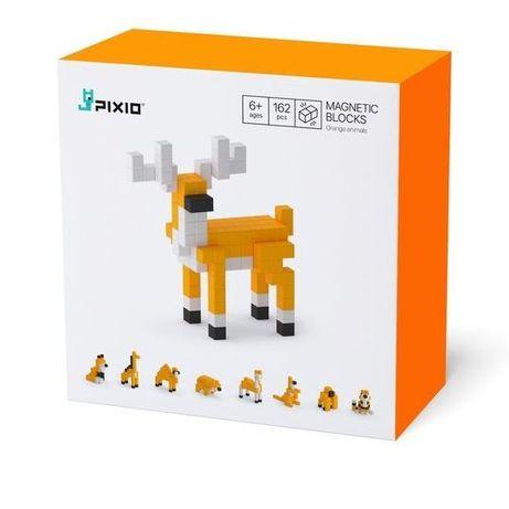 Set joc constructii magnetice PIXIO Orange Animals, app iOS/Android