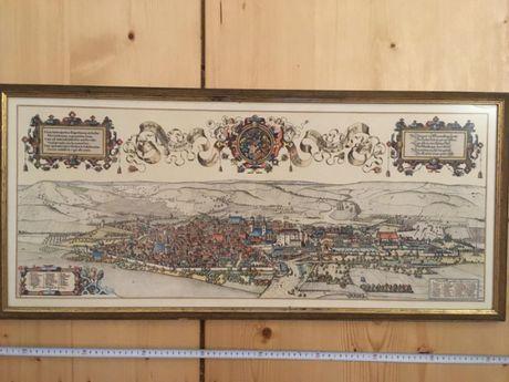 J Sauter - gravura litografie veche antica oras Stuttgart 1592