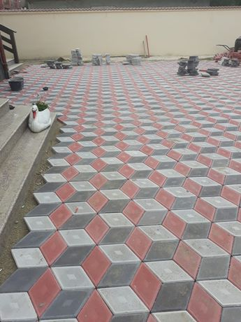 Pavaje si pavele din beton modele Romb 3D si dale 40x40 Asig manopera