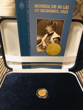 Moneda aur istoria aurului Milemism 1922+caseta+certificat autenBNR