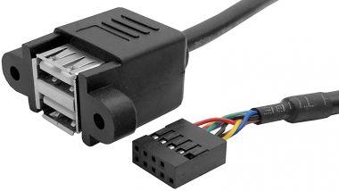 Cablu USB, A, 2x tata, pe panou