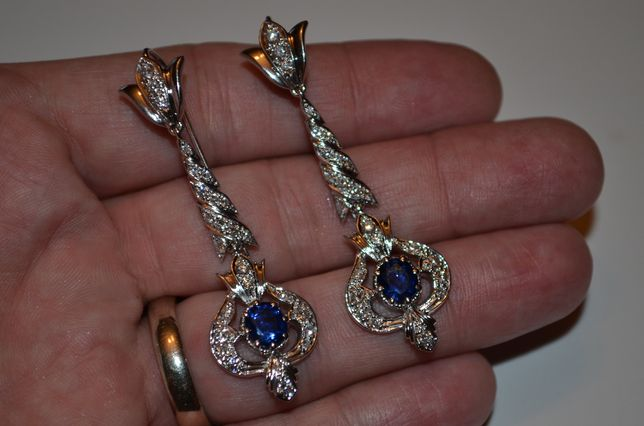 CERCEI AUR alb 18k + 50 Diamante = 1ct. +2 Blue Ceylon Sapphire -16.5g