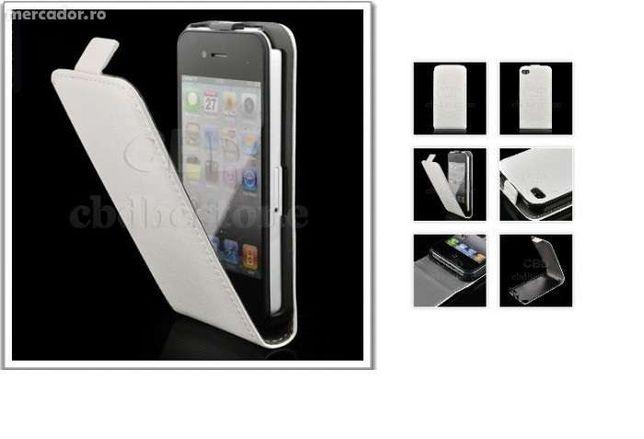 Husa Eleganta TOC FLIP PIELE ALB / NEGRU iPhone 4 / 4S