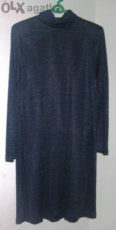 елегантна тъмносиня плетена рокля, от бутик