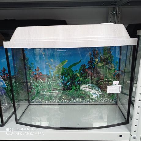 Аквариум с крышкой белёный дуб 30 литров, аквариум в форме телевизора