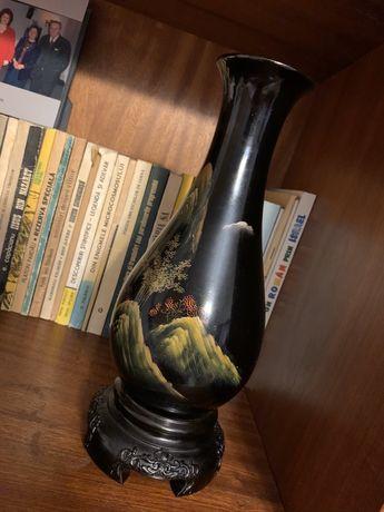 Vază lemn pictată manual din China