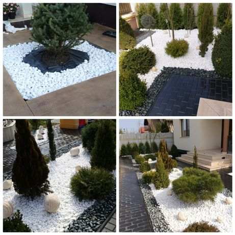 Piatra rotunjita alba thasos neagra bej decorativa curte gradina flori