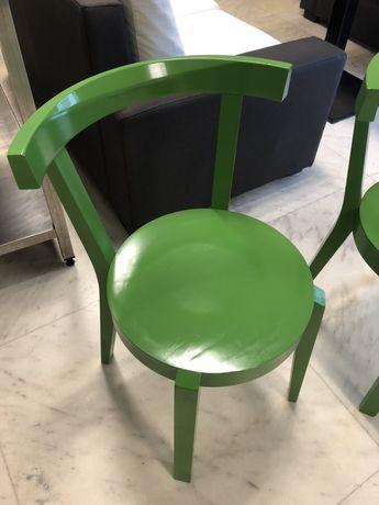 Дървен стол зелен