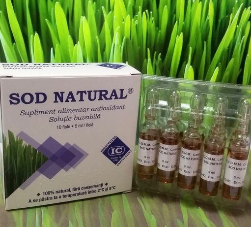 Sod natural,supliment de la Institutul Cantacuzino,cutie 10 fiole