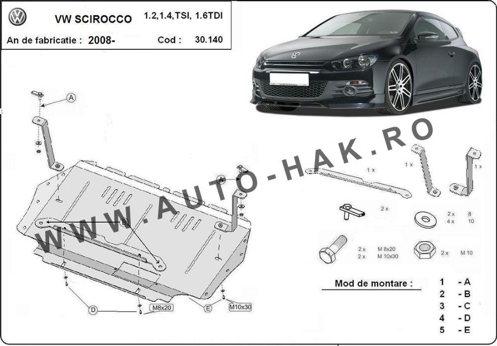 Scut motor metalic VW Sciroco 2008-prezent