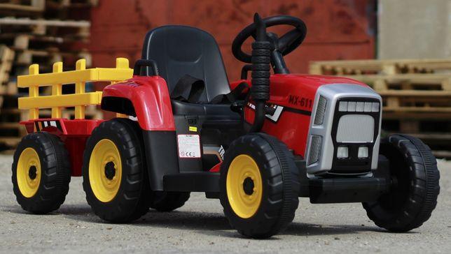 Tractor electric 12V cu Remorca, Blutooth si Telecomanda inclus #Rosu