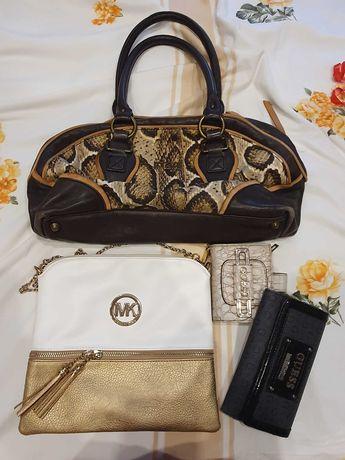 Чанта Just Cavalli кожени дръжки Guess Michael Kors портфейл