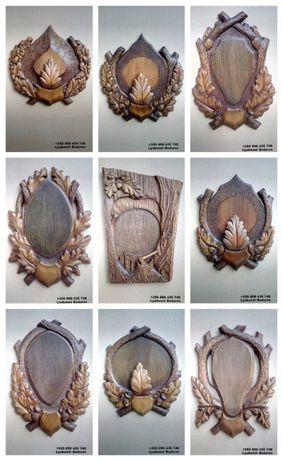 Поставка за ловен трофей, Дърворезба, Стойки за сръндак, бивни, глиги