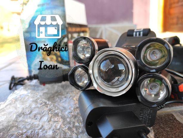Lanterna de cap 5 ( cinci ) led foarte puternică cu zoom și acumulator