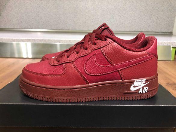 ОРИГИНАЛНИ *** Nike Air Force 1 Leather / Team burgundy
