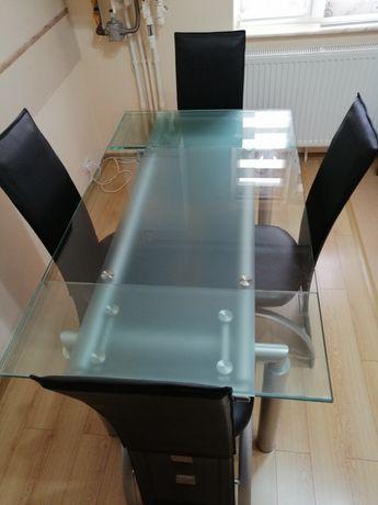 Masa din STICLA de bucatarie + scaune din piele ecologica