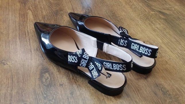 Pantofi balerini de lac tip sling