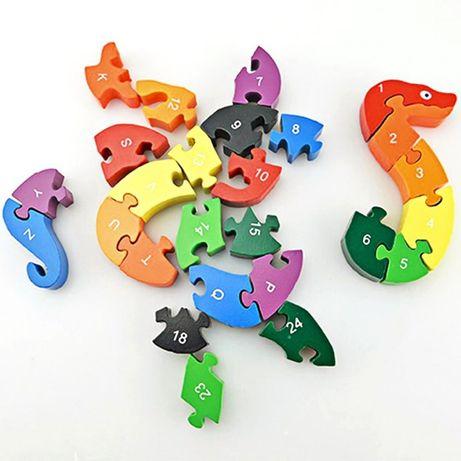 Puzzle lemn 3D multicolor, cifre si litere, model Sarpe