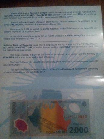 Bancnota 2000 de lei cu eclipsa pentu colectie serie 001A