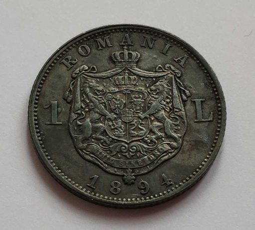 Moneda 1 leu 1894, super stare, patina.