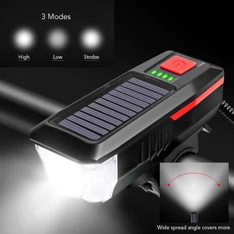Lumini LED Cree T6 Far lanterna bicicleta + claxon + panou solar