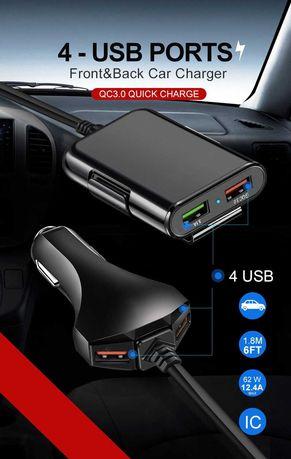 бързо зарядно за кола за телефон-таблет и др.4X Usb Quick Charge