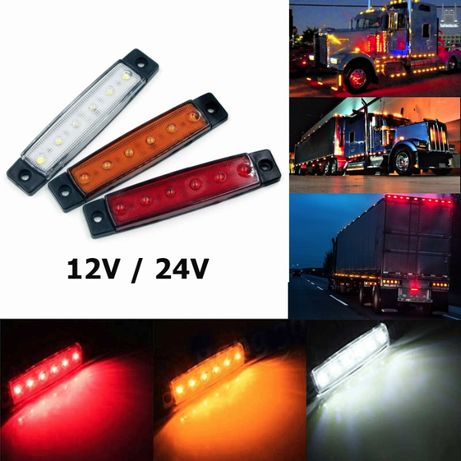 Диодни LED Габарити Светлини Маркер за Камион Ремарке Бус Тир 12V 24V